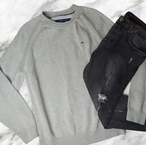 Tommy Hilfiger Grey Knit Pullover Sweater XLarge